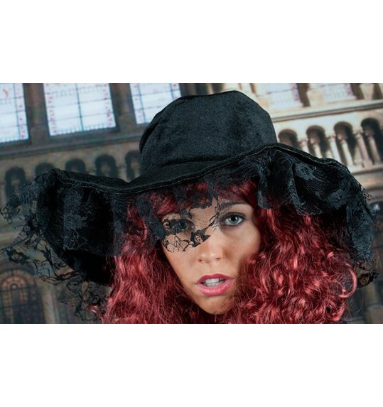 Black Hat Armida with lace