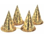 Gold Happy New Year Cone Hat With Fringe