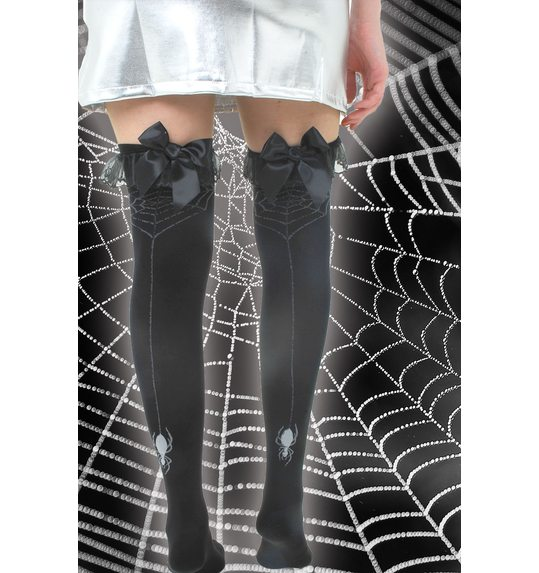Knee stockings with spider web print