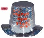 Light-Up Happy New Year Holographic Top Hat
