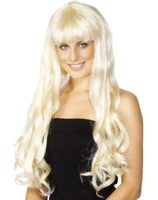 Long blond wig with curls and fringe Paris SM-42220