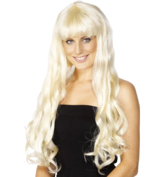Long blond wig with curls and fringe Paris