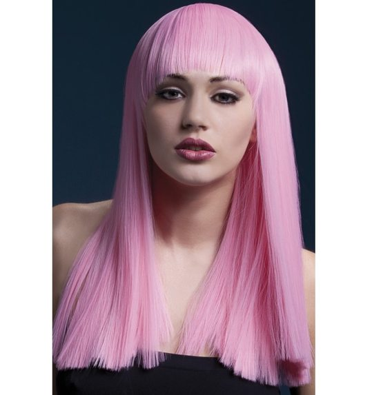 Luxurious wig long light pink with fringe grove Alexia