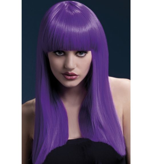 Luxurious wig long purple with fringe Alexia