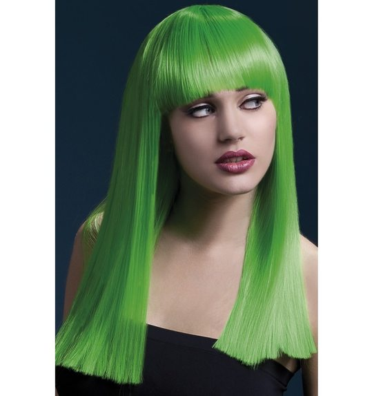 Luxurious wig neon green long with fringe Alexia
