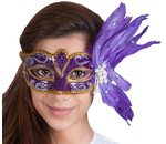 Mask Venice Deluxe with pearls and feathers