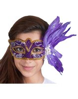 Mask Venice Deluxe with pearls and feathers PWA2258