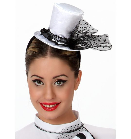Mini Hat white with black bow