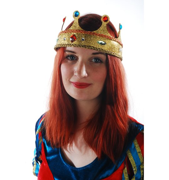 Plastic Crown gold Queen with glitter