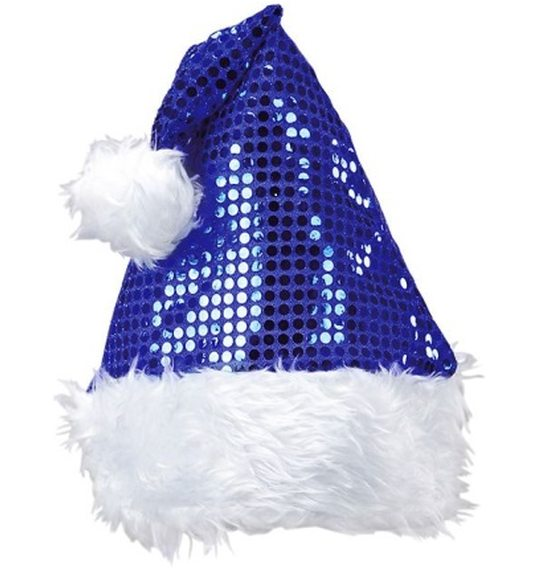 Santa Hat blue with glitter