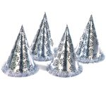 Silver Happy New Year Cone Hat With Fringe
