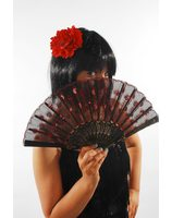 Spanish fan with red glitters luxury PWA3122
