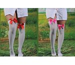 White knee tights with bow