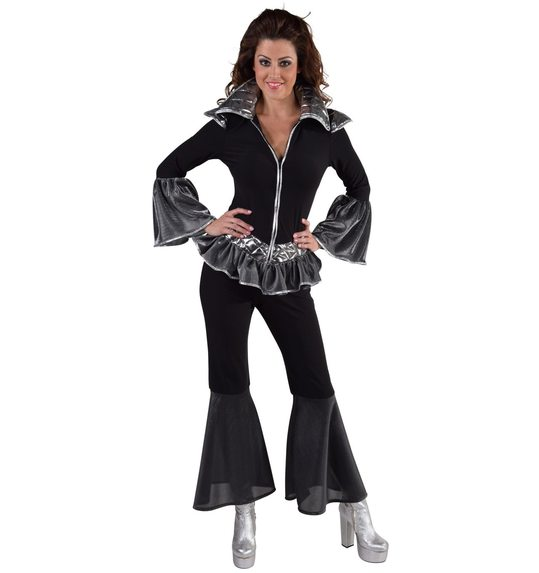 Disco queen dress up suit black/silver