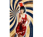 Glitter party dress with large red sequins