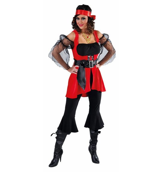 Pirate ladies fancy dress red with black