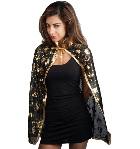 Short halloween cape with print