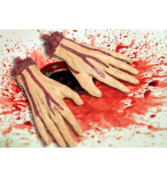 Chopped hands with blood, 2 pieces