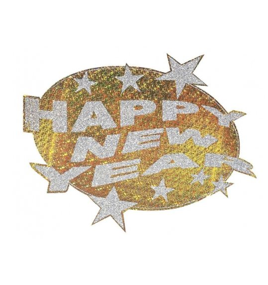 HAPPY NEW YEAR HOLOGRAPHIC & GLITTER DECORATION