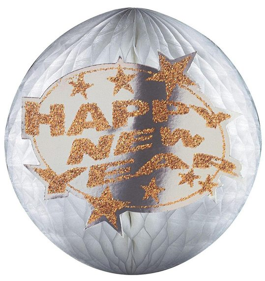 HOLOGRAPHIC & GLITTER HAPPY NEW YEAR HONEYCOMB PAPER BALL