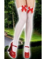 Collants de genou blanc avec noeud rouge PWA3406