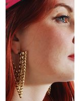 80 's gold earrings PWA3181