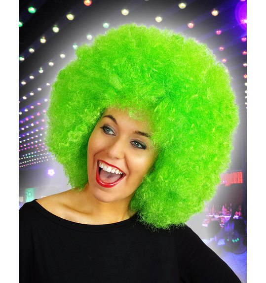 Afro wig bright green