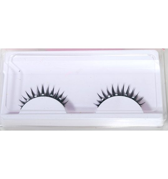 Black eyelashes with blue rhinestone