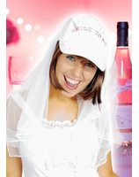 Bride to be Cap with veil PWA2336
