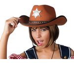 Cowboy hat with sherrif star brown