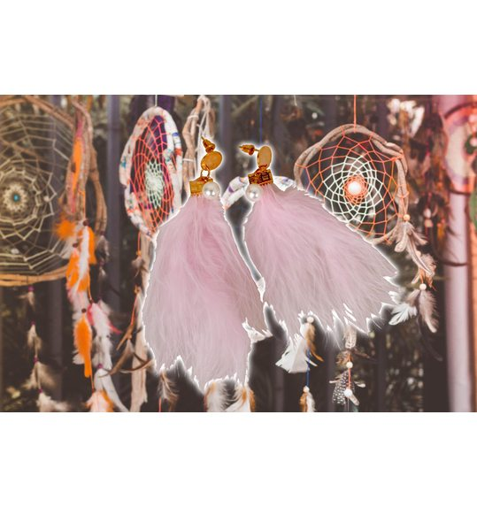 Earrings Plume Pink
