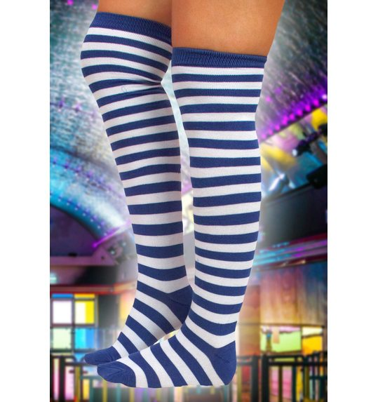 Fashion Knee stocking blue white striped