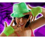 Fishnet gloves bright green