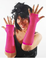 Fishnet gloves bright pink PWA3017FLROZ