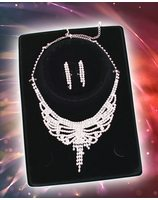 Glamour party set Queen (Earrings + Necklace rhinestones) PWA3373