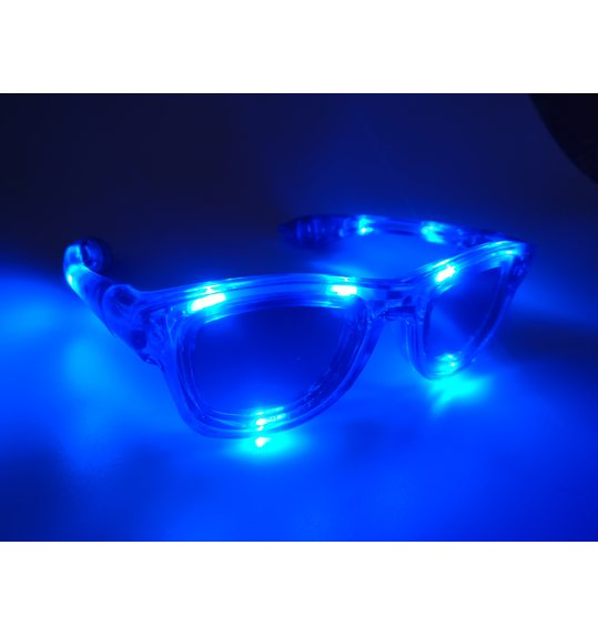Glasses with funky blue lights