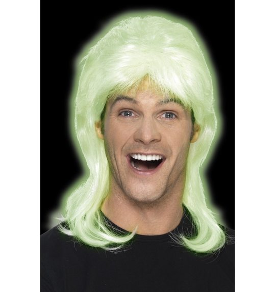 Glow in the dark mullet wig