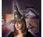 Golden witch hat with spider web print