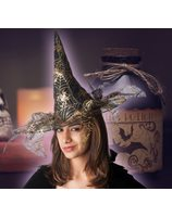 Golden witch hat with spider web print PWA2391GOU