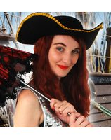 Hat pirate musketeer black PWA3006