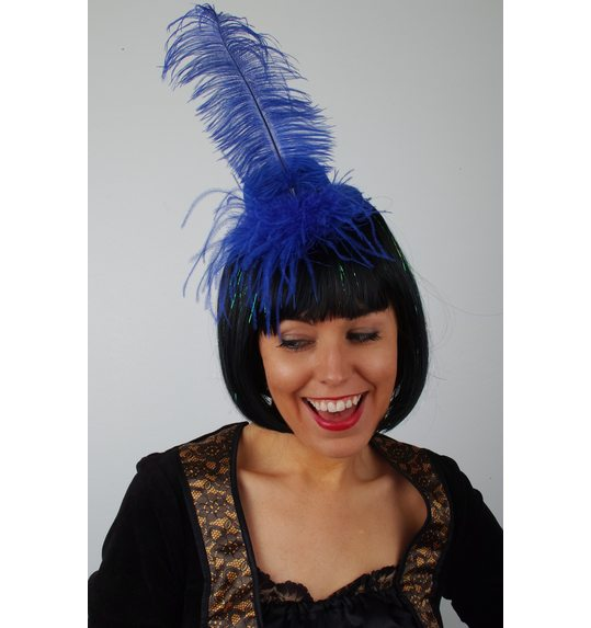 Hat with plume Blue