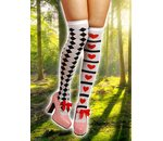 Knee socks with card game Wonderland print