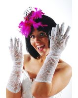 Long white lace gloves for ladies PWA3021