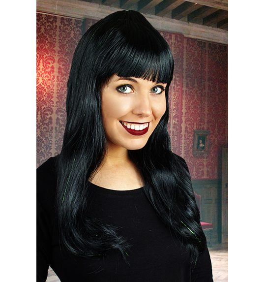 Long wig with fringe black