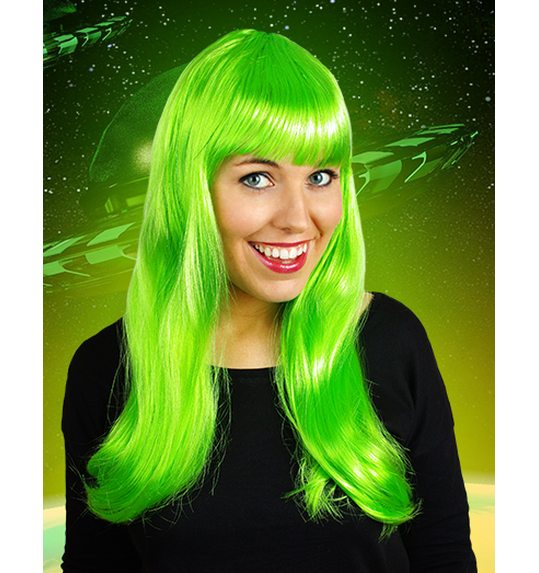 Long wig with fringe bright green