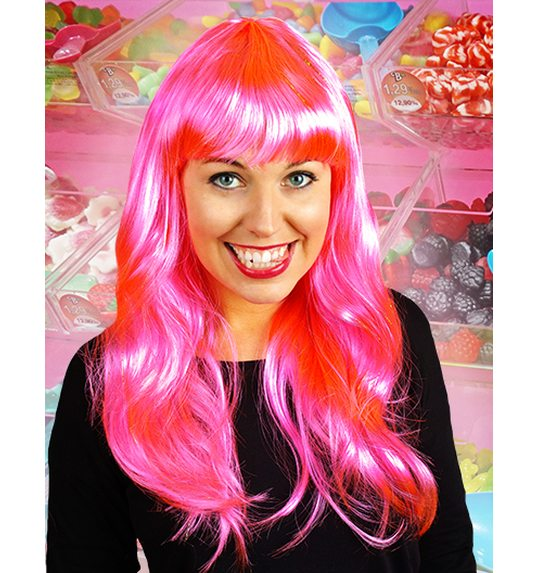 Long wig with fringe bright pink