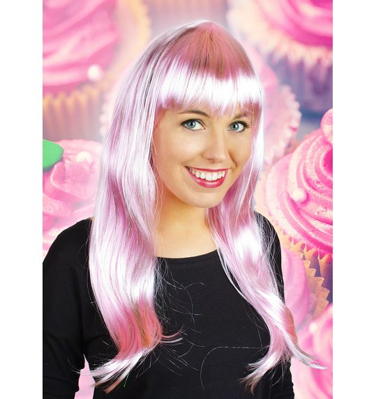Long wig with fringe light pink