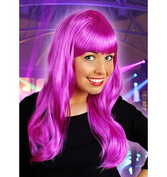 Long wig with fringe purple