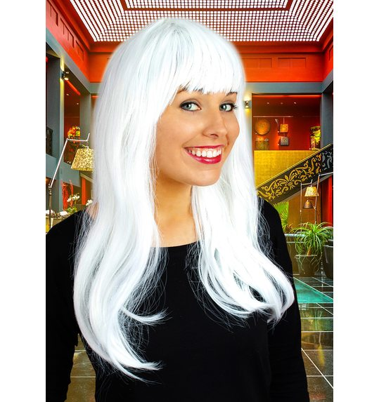 Long wig with fringe white
