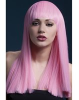 Luxurious wig long light pink with fringe grove Alexia SM-42369